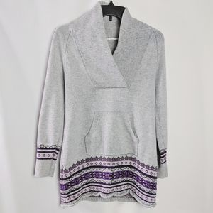 Athleta Grey Purple FairIsle Cashmere Blnd Sweater